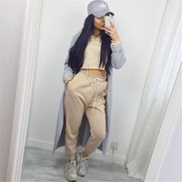 Casual Women's Fashion Hot Sale Winter Sexy Hats Crop Top Sportswear Set [9663806223]