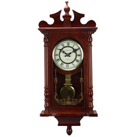 """Bedford Collection Redwood Finish 25"""" Wall Clock with Pendulum and Chime"""