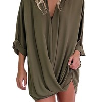 YOINS New Fashion Street Style Semi-sheer Mini Shirt Dress Casual Deep V-neck Long Sleeve Loose Women Dresses Vestidos