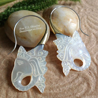 """Tribal Hanging Earrings, """"Glistening Ganesh"""" Naturally Organic, Mother of Pearl, Brass Tops, Sterling Silver Posts, Hand Carved"""