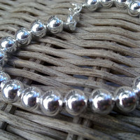 """Naomi Crowther Collection  """"Cape Cod"""" Beaded Silver Plated bracelet - stamped 925 with 20 elegant 7mm balls"""