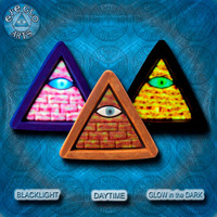 EyeGloArts blacklight polymer clay millefiore GLOW In The Dark jewelry gold yellow and rust Illuminati all seeing eye pyramid pendant