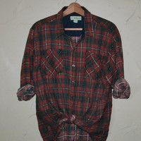 Vintage Plaid Flannel Shirt 80s Red Black Lumberjack Grunge Buffalo Rockabilly Unisex Shirt slouchy button up Checkered Shirt Size Large