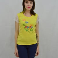 Boho Lace Sleeve Shirt Floral 70s Hippie Groovy Girly Cute Womens Vintage Clothing Lemon Yellow Bright Size Small XS Scoop Neck Tshirt