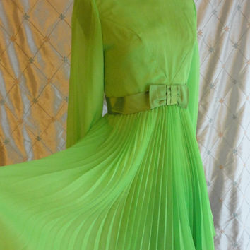 ON SALE 60s Dress // Vintage 1960s Lime Green Chiffon Party Dress with Pleated Skirt and Satin Belt Size M 28 waist
