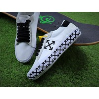 Sale Off White Vulcanised Arrows Sneakers White/Black Canvas Shoes