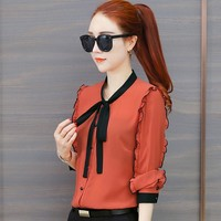 Womens Tops and Blouses Chiffon Blouse Autumn Ladies Striped Shirts Long Sleeve Elegante Casual Ladies Tops Office Clothing