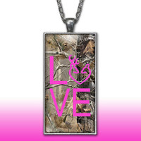 Camo Love Heart Pendant Charm Necklace Deer Head Browning Hot Pink Country Girl Custom Necklace, Silver Plated Jewelry