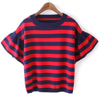 Red Blue Bell Sleeve Striped Knit Cropped Sweater
