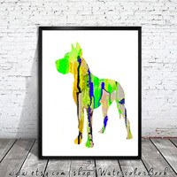 Great Dane 9 Watercolor Print, Children's Wall, Art Home Decor, dog watercolor,watercolor painting,animal watercolor, Great Dane art,dog art