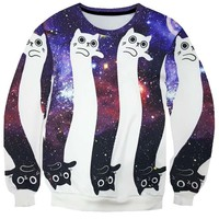 Kitty Cat Optical Illusion Universe Space Print Sweatshirt | Gifts for Animal Lovers