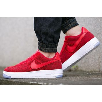 Originals Nike Air Force One 1 Flyknit Low Red / Black / White Running Sport Casual Shoes '07 817419-601 Sneakers