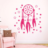 Dream Catcher Wall Decals Indian Amulet Stars and Moon Feathers Home Interior Vinyl Decal Sticker Dorm Decal Mural Bedroom Wall Decor MR400