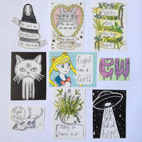 Hand Drawn Stickers- Set One
