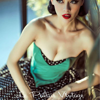 FREE SHIPPING Le Palais Vintage PIN UP sweet vintage wave emerald contrast color band puff dress/ dots
