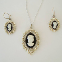 Black White Cameo Set Seed Pearls Pendant Necklace Earrings Vintage Jewelry