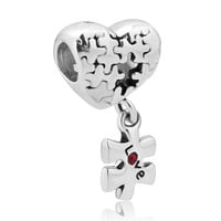 Free shipping 1PC Puzzle Heart Charm Bracelet Dangle Love Red Crystal Charms Fits Pandora Style Charm Bracelets