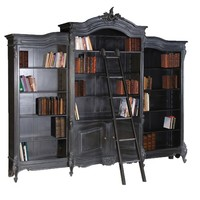 Moulin Noir Triple Bookcase | Painted French Bookcase | Black Painted French Storage Cupboard