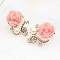 New Fashion 18K Gold Plated Cute Sweet Rose Shaped Artificial Pearl and Diamond Stud Earrings for Women Ladies Girls = 1933053316