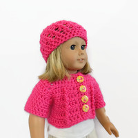 Pink Doll Sweater, Pink Doll Hat, 18 Inch Doll Clothes