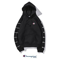Champion Autumn And Winter New Fashion String Mark Print Couple Hooded Long Sleeve Sweater Black