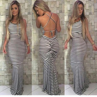 Striped Women's Fashion Fashion Stripes Stylish Sexy One Piece Dress = 5893057985