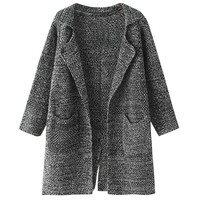 Notched Collar Knit Long Sleeve Fall Cardigan