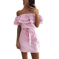 Women Sexy Hanging Arm Strapless Dress Spring Summer Clothing Party Bandage Dresses