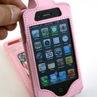 New Navor Flip Wallet Card Leather Case for iPhone 4 4S Light PINK Color for AT&T, Verizon, Sprint,
