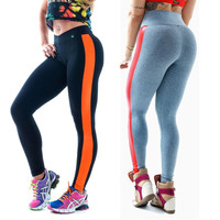 Sexy yoga pants women slim fitness sport pant for running gym workout clothes yoga leggings Side stripes leather patchwork track