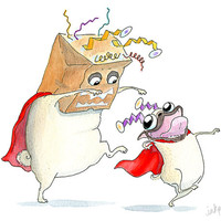 Funny Father's Day Card - Cute Pug Card for Dad, Mom, Parent, Big Brother or Big Sister - Dress Up Playtime Illustration by InkPug!