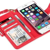 iPhone 6S Plus Case, Terrapin [Red] [Etched Floral Pattern] Textured PU Leather Wallet Case with Card Slots ID Window Cash Compartment and Detachable Wrist Strap Case for iPhone 6 Plus / 6S Plus - Red