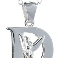 "Disney ""Tinkerbell"" Initial Silver Pendant Necklace"