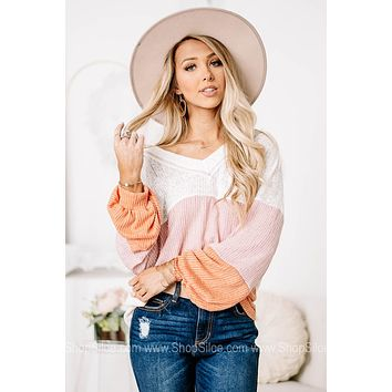 Take A Hint Sheer Knit Sweater Top
