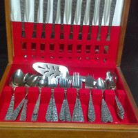 62 Piece Stainless Flatware in Wooden Case, Service for 12 with 14 Serving Pieces , Floral Handles (1337)