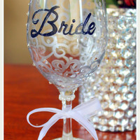 Bride Wine Glass Hand Painted Wedding Wine Glass with Swarovski Element Crystals Personalized
