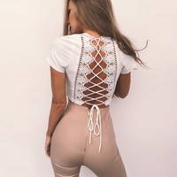Women sweet lace up crop top  short sleeve backless casual V-neck tees