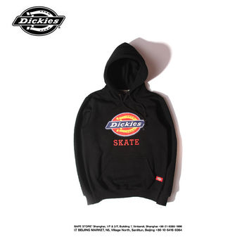 """""""Dickies"""" Fashion Casual Male Female Solid Color Letter Embroidery Small Logo Long Sleeve Hooded Loose Couple Cotton Sweater"""