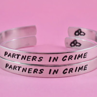 PARTNERS IN CRIME - Hand Stamped Aluminum Cuff Bracelets Set, Forever Love, Friendship, Bff Gift, Handwritten Font Version