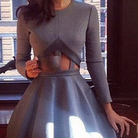 Grey Long Sleeve Cut-Out Waist Skater Dress