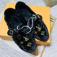 Louis Vuitton LV New Women's Embroidered Letter Furry Slippers