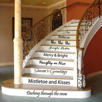 Christmas Wall Decal Quote Stairs Art Mural Stair Riser Vinyl Sticker Home Bedroom Stairs Decor Dorm Living Room Design Interior KY101