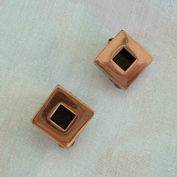 RENOIR Copper Clip On Earrings Geometric Retro Squares Vintage 1940s Jewelry