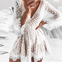 Lace Dot Women Mini Dresses Sexy V Neck Party Beach Mesh Dress