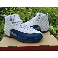 "Air Jordan 12 ""French Blue"" white/blue Basketball Shoes 36--47"