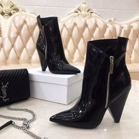 YSL   Trending Men Women Black Leather Side Zip Lace-up Ankle Boots Shoes High Boots
