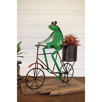 Recycled Iron Frog And A Bicycle With Flower Pot