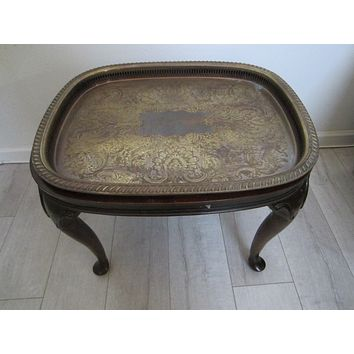 Colonial English Mahogany Table Brass Serving Tray