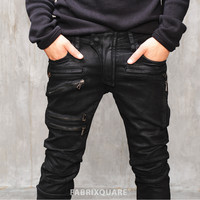 BM Heavy Waxed Multi Zip Black Biker Jeans 27 29 31 33