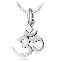Chuvora 925 Sterling Silver Yoga, Aum, Om, Ohm, India Symbol Pendant Necklace for Women and Men, with Chain 18''